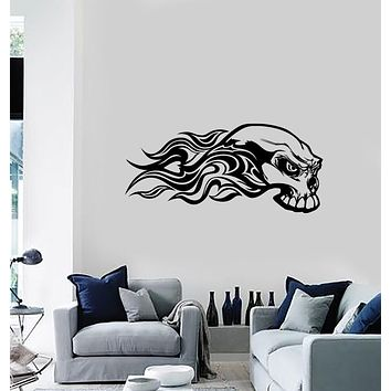 Unique Gift Wall Vinyl Decal Sticker Flaming Skull Car Motorcycle Truck Decor (n1171)