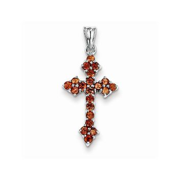 14k White or Yellow Gold Garnet Cross Pendant