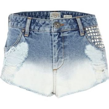 light bleach denim super short hotpants-River Island