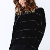 Rusty Someday Crew Knit Fuzzy Sweater - Womens Sweater - Black