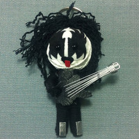 Kiss Metal Guitar Goth Rock Music Voodoo Doll Of String Funny Keyring Keychain Ring Key Chain Bag Car Link Funk Men Hard Cool Band Decor Men