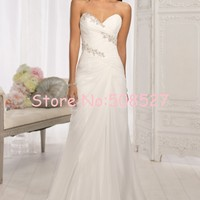 Vestido Novia New Stock US Size 2-22 White/Ivory Pleat Beading Crystal Chiffon Beach A-Line Wedding Dress Wedding Gowns