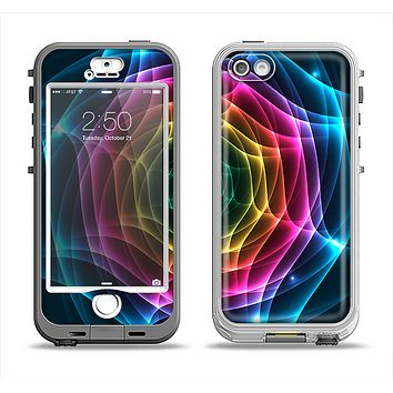 The Rainbow Neon Translucent Vortex Apple iPhone 5-5s LifeProof Nuud Case Skin Set