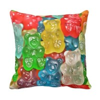 Gummi bears collage fun for kids & adults cute pillow