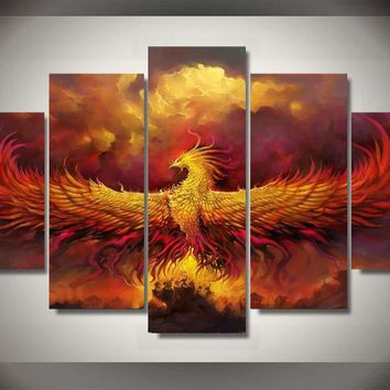 Phoenix Fire Magic 5-Piece Wall Art Canvas