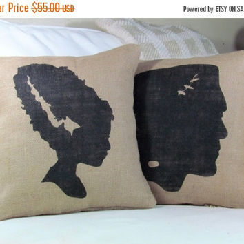 15% OFF ENTIRE STORE Halloween Pillow, Frankenstein Pillow, Bride of Frankenstein, Burlap Pillow, Halloween Decor, Fall Decor, Frankenstein