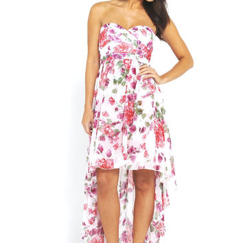 Strapless Floral Chiffon High Low Dress
