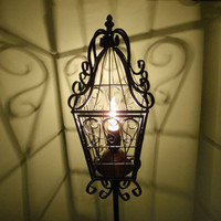 Anthropologie inspired bird cage lantern style floor lamp black