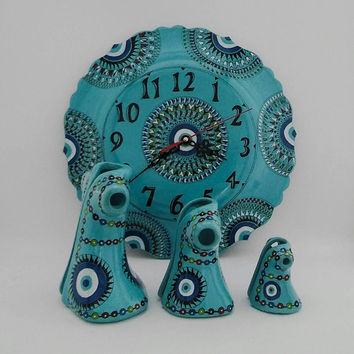 Turquoise Evil Eye Decorated Wall Clock and Caftan Set , Fast Free Shipping , Mother's Day Set , Authentic Set