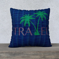 """Blue & Green Rattan Travel Palm Tree Pillow Case Cover 22"""" x 22"""""""