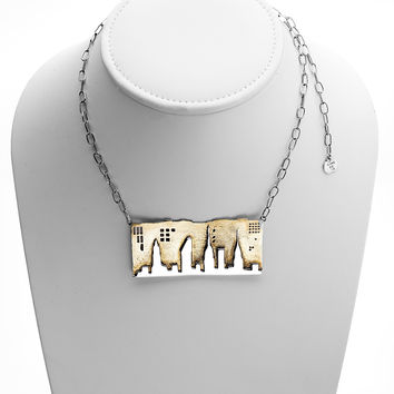 NYC Skyline The City That Never Sleeps Sterling Silver Brass Necklace