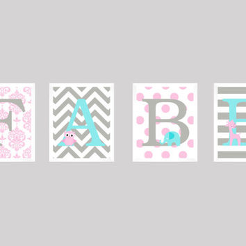 Personalized Nursery Letters, Custom Decor Prints, Pink Gray and Aqua flower owl elephant, Name Prints, Custom Name Art, Nursery Decor, 8x10