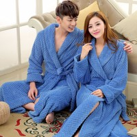 Women Men Silk Flannel Long Thick Waffle Bath Robe Kimono Bathrobe Bride Wedding Bridesmaid Robes Dressing Gown Peignoir Badjas