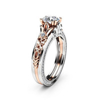 Special Reserved - Antique Engagement Ring 14K Two Tone Gold 1.55 Carat Moissanite and MATCHING BAND