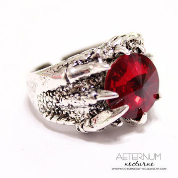 Dragon Gothic ring - antique silver setting and Swarovski crystal Rivoli stone, choose your color - Victorian Gothic jewelry