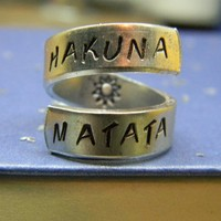 The original Hakuna Matata Version II Aluminum swirl ring