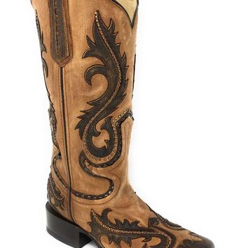 DCCKAB3 Corral Tan Overlay & Studs Square Toe Boots