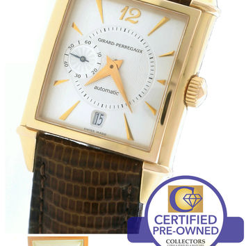 MINT Men's Girard Perregaux 'Vintage 1945' 18K Rose Gold 2596 Silver Brown Watch