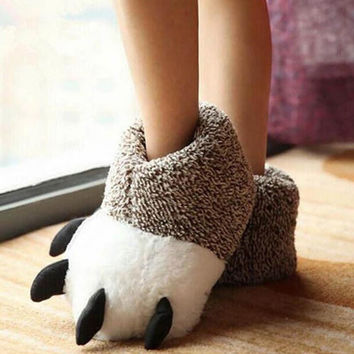 Winter Fashion Thermal Winter Indoor Cotton Padded Plush Cartoon Bear Claw Non-slip Slippers Home Cotton Slippers Floor Shoes