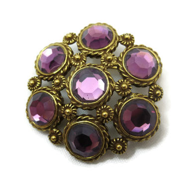 Amethyst Glass Pendant Brooch - Rhinestone Brass Costume Jewelry