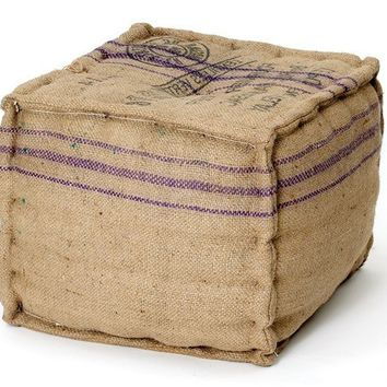 Recycled Jute Burlap Rectangle Pouf Ottoman