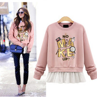 SIMPLE - Autumn Winter Women Velvet Floral Printed Loose Long Sleeve Alphabets Outerwear Jacket Sweatshirt a13099
