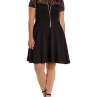 Plus Size Black Cut-Out Yoke Skater Dress by Charlotte Russe