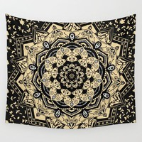 Indian Gold Mandala Wall Tapestry by Inspired Images