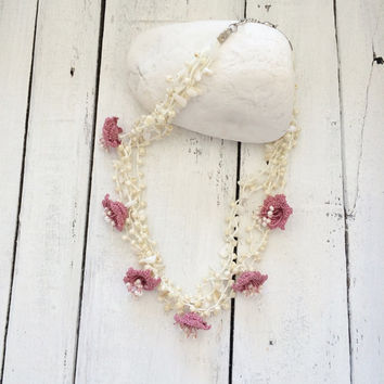 Multistrand Crochet Necklace, Dusty Pink Necklace, Statement Necklace, Bridal Collar, Oya Beaded Necklace, Crochet Jewelry, ReddApple