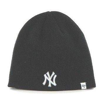 NEW YORK YANKEES NAVY KNIT HAT/BEANIE WITH OUT CUFF NEW & OFFICIALLY LICENSED