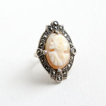 Vintage Art Deco Sterling Silver Carved Cameo & Marcasite Ring - 1930s Size 4 Shell Woman Silhouette Statement Costume Jewelry