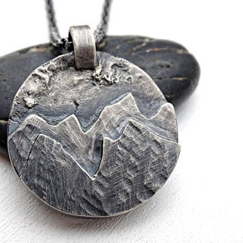 big mountain pendant silver, rustic mens necklace landscape amulet necklace mountain, outdoor pendant mountain range, unique gift for him