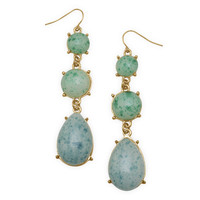 Gold Tone Fashion Earrings with Blue and Green Marbleized Drops