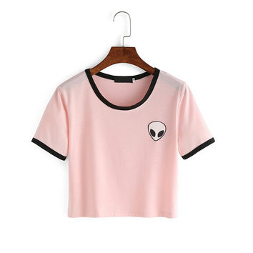 Women's Summer Fashion Kawaii Design Alien Print Short Sleeve Comfortable Female Pink Tee Crop Top T-Shirt