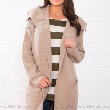 Talk To Me Ribbed Knitted Cardigan In Oatmeal