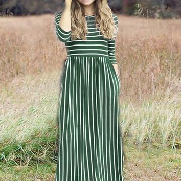 Army Green-White Striped Draped Pockets Country Round Neck Casual Maxi Dress