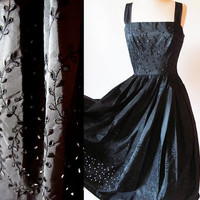 1950's black eyelet  dress /  taffeta dress  / 50s black dress