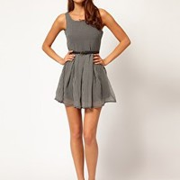 Glamorous Dogtooth Skater Dress with Belt at asos.com
