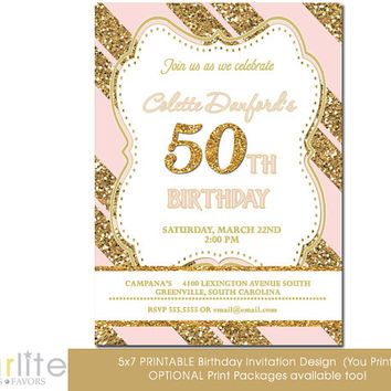 50th Birthday Invitation, Milestone Birthday Invitation - any age Gold Tone Glitter Pink Stripes - 5x7 - Modern Number - unique - You Print