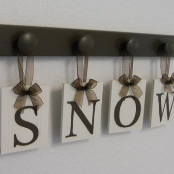 Personalized Family Name Signs Wall Decor Includes 4 Hooks and Wood Letters SNOW - Brown. Custom Family Name Wedding Gifts