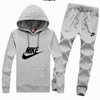 Nike tide brand men and women fashion leisure suits Gray