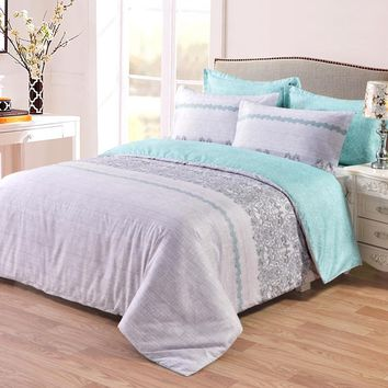 High Quality 3pcs Duvet Cover Set, Reversible with Gray/Grey and Teal/Turquoise, Soft Microfiber Bedding