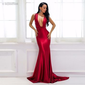 Elegant Backless Satin Maxi  Dress