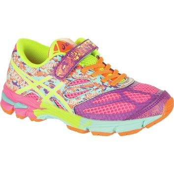 asics gel noosa tri 10 ps running shoe girls hot pink flash yellow ice blue  number 1