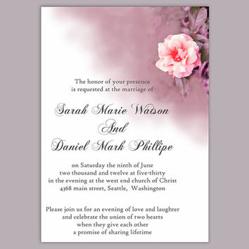 DIY Wedding Invitation Template Editable Word File Download Printable Coral Invitation Floral Rose Wedding Invitation Purple Invitation