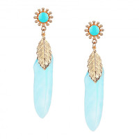 Light Blue Feather and Leaf Drop Earrings