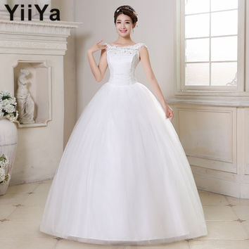 Free shipping YiiYa wedding dresses 2015 plus size lace wedding dress princess white cheap gowns bride Vestidos De Novia HS164