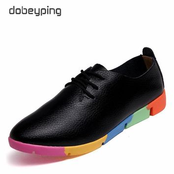 New Autumn Women's Casual Shoes Genuine Leather Woman Loafers Lace-Up Female Flats Sho