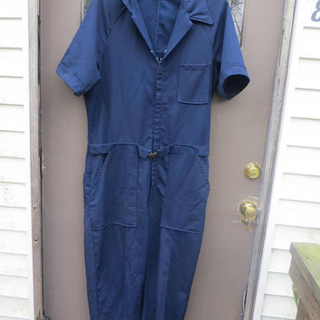 Vintage 70s Apollo Jump suit  navy blue   Zip Front Leisure Jump Suit Jumpsuit Coveralls mens  large