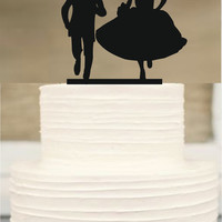Funny Wedding cake topper,Silhouette cake topper,initial Cake Topper,Unique Wedding Cake Topper,Rustic Wedding Cake Topper,Bride and Groom